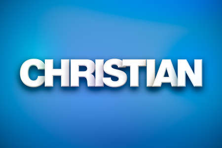 The word Christian concept written in white type on a colorful background. Stock Photo