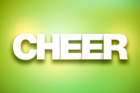 The word Cheer concept written in white type on a colorful background.
