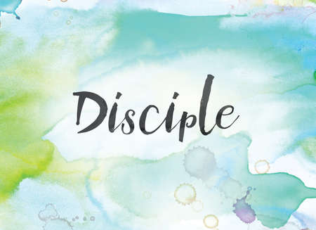 The word Disciple concept and theme written in black ink on a colorful painted watercolor background.