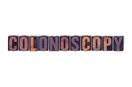 colonoscopy: The word Colonoscopy concept and theme painted in colorful watercolors on a white paper background.