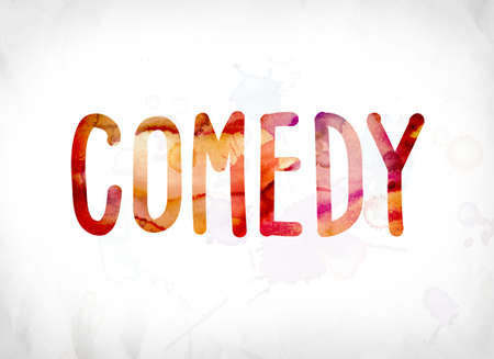The word Comedy concept and theme painted in colorful watercolors on a white paper background.