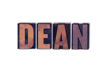letterpress words: The word Dean concept and theme written in vintage wooden letterpress type on a white background.