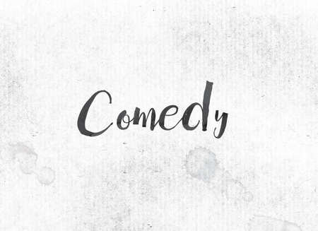 The word Comedy concept and theme painted in black ink on a watercolor wash background.