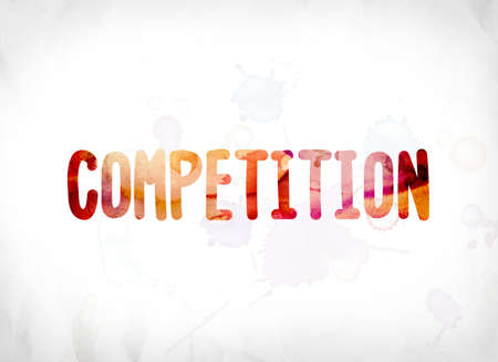 The word Competition concept and theme painted in colorful watercolors on a white paper background. Imagens