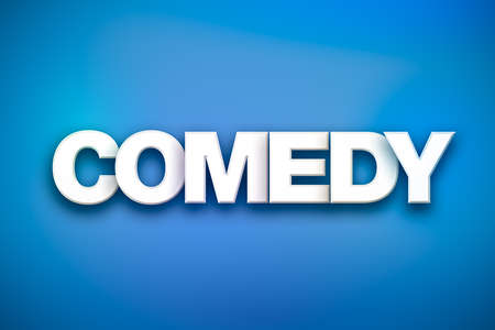 The word Comedy concept written in white type on a colorful background.