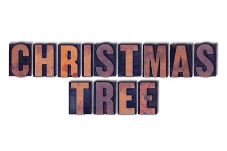 letterpress words: The words Christmas Tree concept and theme written in vintage wooden letterpress type on a white background. Stock Photo