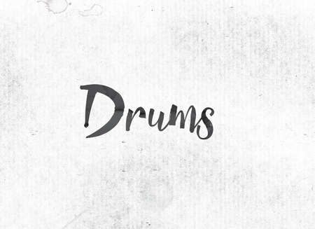 to pulsate: The word Drums concept and theme painted in black ink on a watercolor wash background. Stock Photo