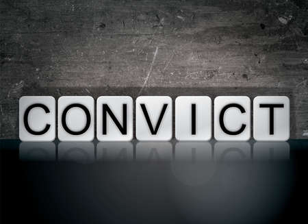 The word Convict concept and theme written in white tiles on a dark background.