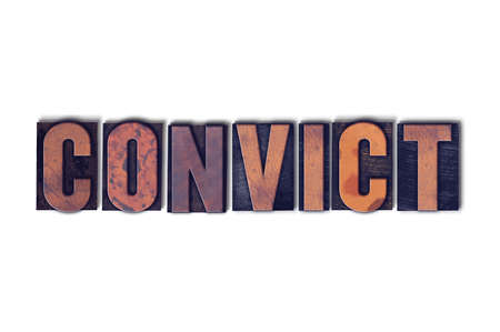 The word Convict concept and theme written in vintage wooden letterpress type on a white background.