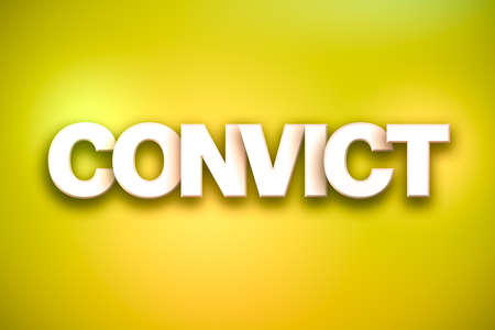 The word Convict concept written in white type on a colorful background. Stock Photo