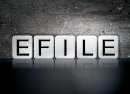 단어 eFile 개념 및 어두운 배경에 흰색 타일에서 작성 된 테마. 스톡 콘텐츠