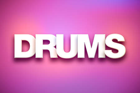 The word Drums concept written in white type on a colorful background.