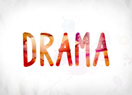 The word Drama concept and theme painted in colorful watercolors on a white paper background.
