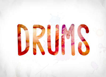 The word Drums concept and theme painted in colorful watercolors on a white paper background. Stock fotó