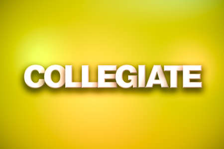 The word Collegiate concept written in white type on a colorful background.