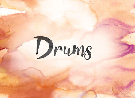 to pulsate: The word Drums concept and theme written in black ink on a colorful painted watercolor background. Stock Photo