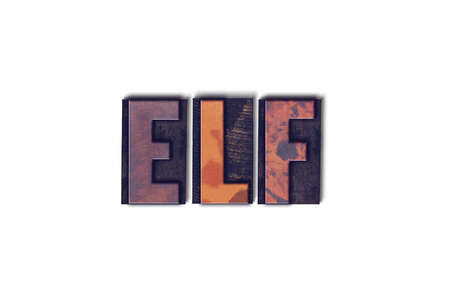 letterpress words: The word Elf concept and theme written in vintage wooden letterpress type on a white background. Stock Photo
