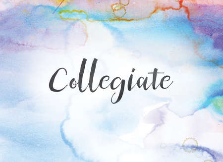 The word Collegiate concept and theme written in black ink on a colorful painted watercolor background. Stok Fotoğraf