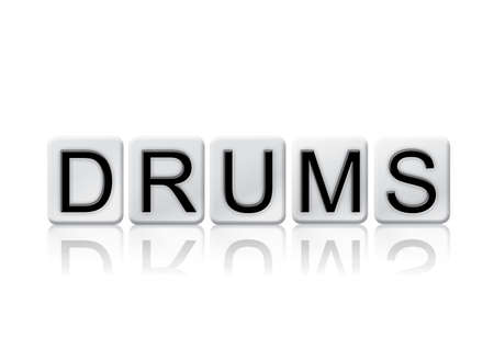 to pulsate: The word Drums concept and theme written in white tiles and isolated on a white background. Stock Photo