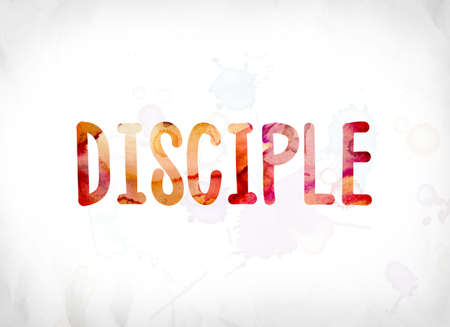 The word Disciple concept and theme painted in colorful watercolors on a white paper background. Stock fotó