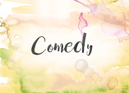 The word Comedy concept and theme written in black ink on a colorful painted watercolor background. Stock fotó