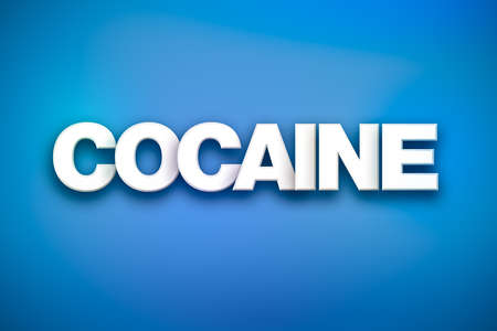 The word Cocaine concept written in white type on a colorful background.