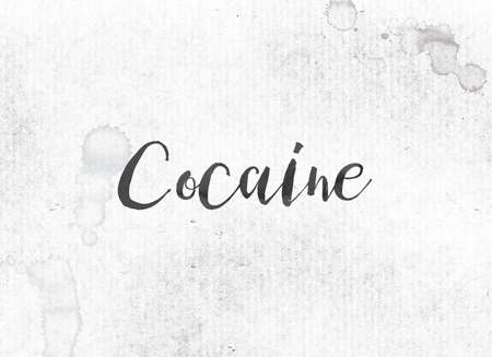 The word Cocaine concept and theme painted in black ink on a watercolor wash background.