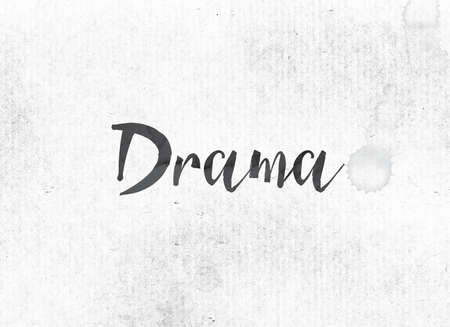 The word Drama concept and theme painted in black ink on a watercolor wash background.