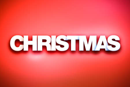 christmastide: The word Christmas concept written in white type on a colorful background. Stock Photo