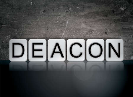 The word Deacon concept and theme written in white tiles on a dark background.