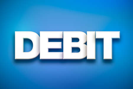 arrears: The word Debit concept written in white type on a colorful background. Stock Photo