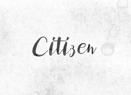 Het woord Citizen concept en thema geschilderd in zwarte inkt op een aquarel was achtergrond. Stockfoto