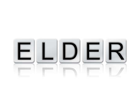 The word Elder concept and theme written in white tiles and isolated on a white background.