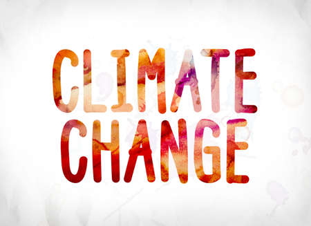 The word Climate Change concept and theme painted in colorful watercolors on a white paper background. Stock Photo