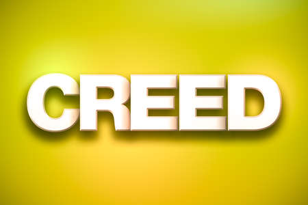 The word Creed concept written in white type on a colorful background. Stock Photo