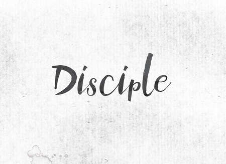 The word Disciple concept and theme painted in black ink on a watercolor wash background.