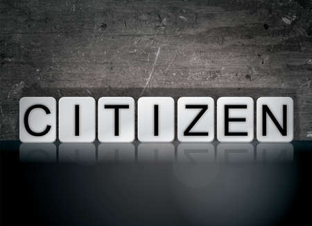 The word Citizen concept and theme written in white tiles on a dark background.