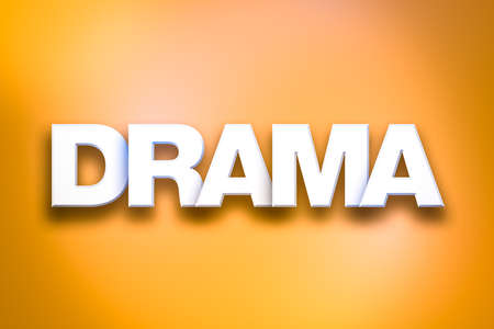 The word Drama concept written in white type on a colorful background.