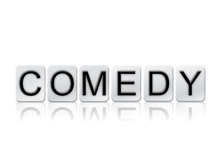 The word Comedy concept and theme written in white tiles and isolated on a white background. Stock fotó