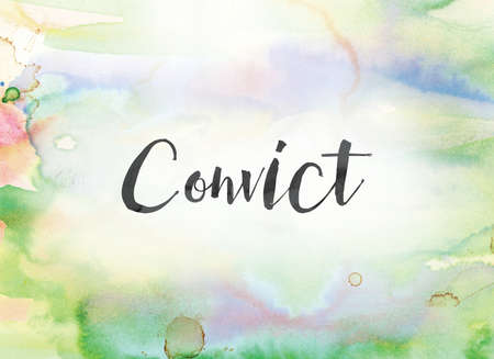 The word Convict concept and theme written in black ink on a colorful painted watercolor background. Stock Photo