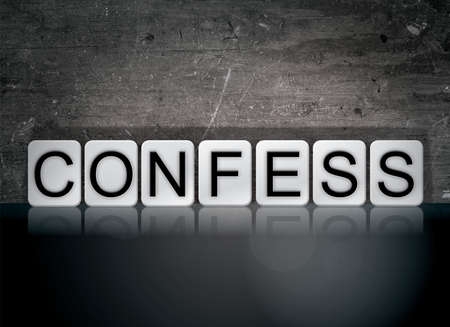 The word Confess concept and theme written in white tiles on a dark background. Stock Photo