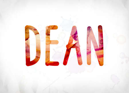 legislator: The word Dean concept and theme painted in colorful watercolors on a white paper background.