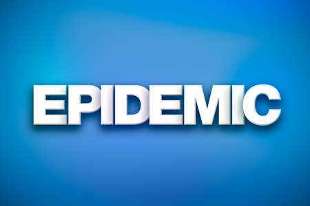 The word Epidemic concept written in white type on a colorful background.