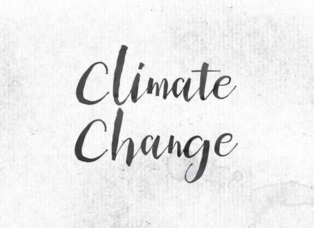 The word Climate Change concept and theme painted in black ink on a watercolor wash background.
