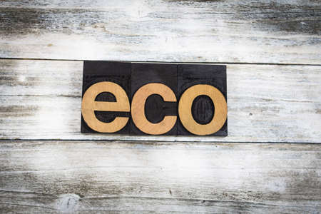 letterpress words: The word eco written in wooden letterpress type on a white washed old wooden boards background. Stock Photo