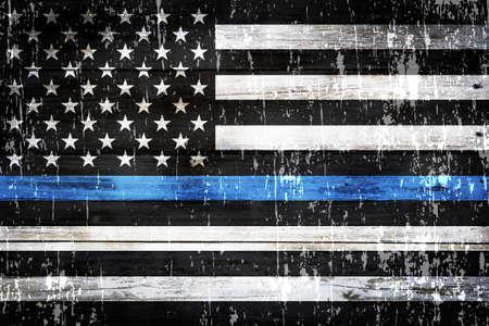 法執行機関に対するサポートの象徴的なアメリカの旗。