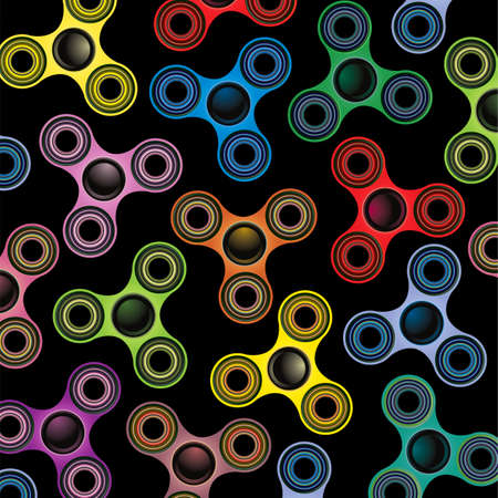 A background of fidget spinner focus toys illustration on black. Иллюстрация