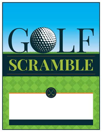 Un torneo de golf scramble flyer e ilustración de invitación. Vector EPS 10 disponible. El tipo se ha convertido en contornos en el archivo vectorial.