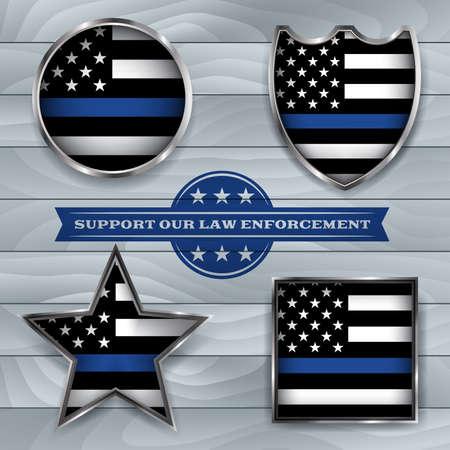 Amerikaanse vlag badges en emblemen symbolisch voor steun voor wetshandhaving. Vector EPS 10 beschikbaar.
