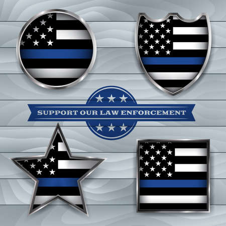 American flag badges and emblems symbolic of support for law enforcement. Vector EPS 10 available. Vettoriali